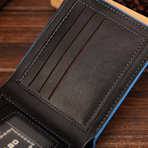 MilkySkinForever Men Business Iron Corner Faux Leather Card Holder Purse Bifold Money Clip Wallet