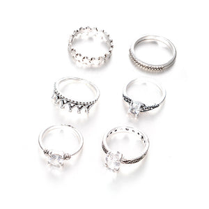MilkySkinForever 6 Pcs Antique Infinity Crown Rhinestone Knuckle Finger Joint Rings Party Jewelry