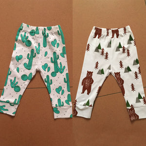 MilkySkinForever Kid Boys Girls Casual Cotton Pants Strawberry Cactus Bear Pattern Long Trousers