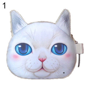 MilkySkinForever Funny Cat Face Head Print Mini Coin Bag Wallet Purse Zipper Pouch Children Gift