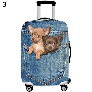 MilkySkinForever Cute Cat Dog Jeans Dustproof Anti-Scratch Suitcase Protective Cover Case Decor