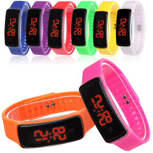 MilkySkinForever Men Women Silicone Band Digital LED Bracelet Wristwatch Sports Running Watches