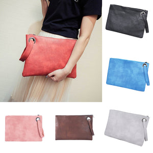 MilkySkinForever Women Faux Leather Solid Color Clutch Envelope Bag Large Capacity Handbag Gift