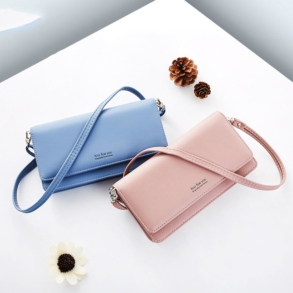 MilkySkinForever Women Fashion Rectangle Solid Color Faux Leather Messenger Crossbody Bag Wallet