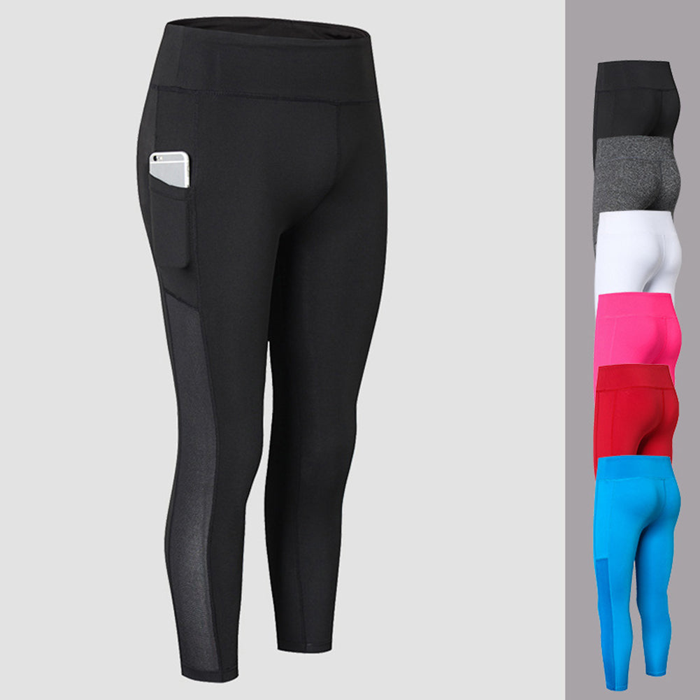 MilkySkinForever Solid Color Leggings Quick Dry Women Workout Skinny Cropped Trousers Yoga Pants