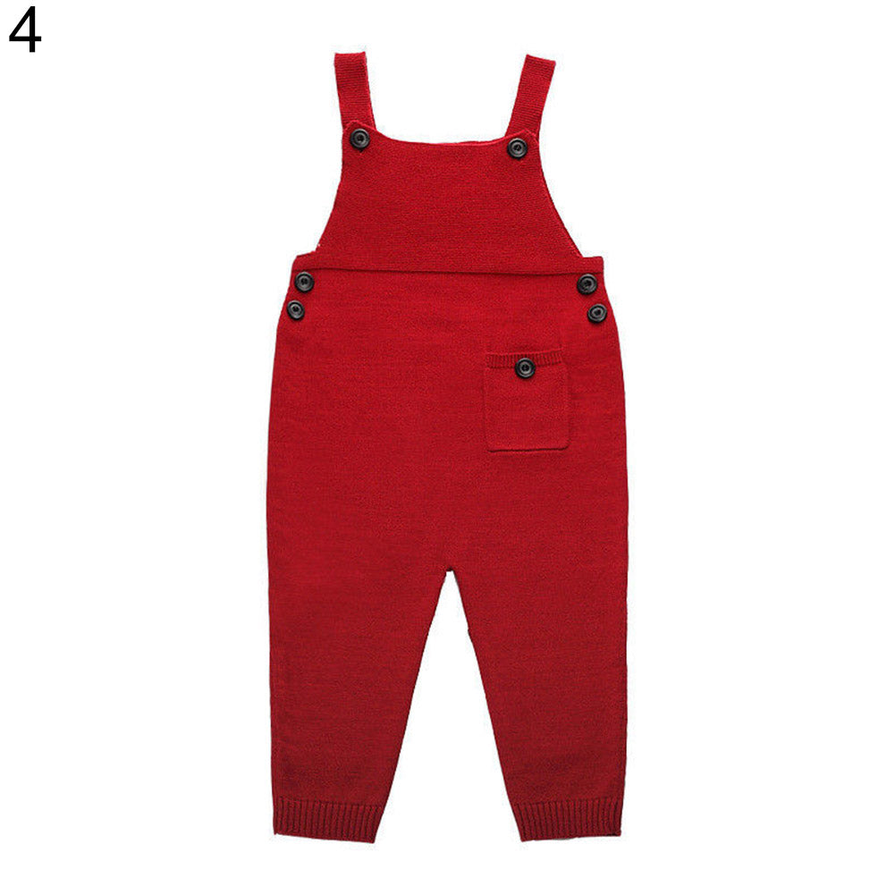 MilkySkinForever Kid Baby Boy Girl Fashion Knitted Bid Pants Romper Button Overalls Long Trousers