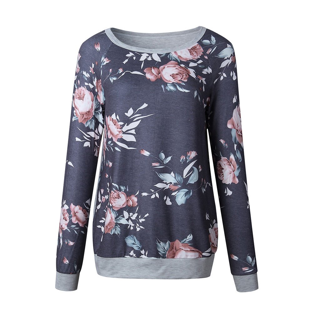 MilkySkinForever Fashion Women Spring Long Sleeve Floral Print Top Comfortable Casual T-shirt