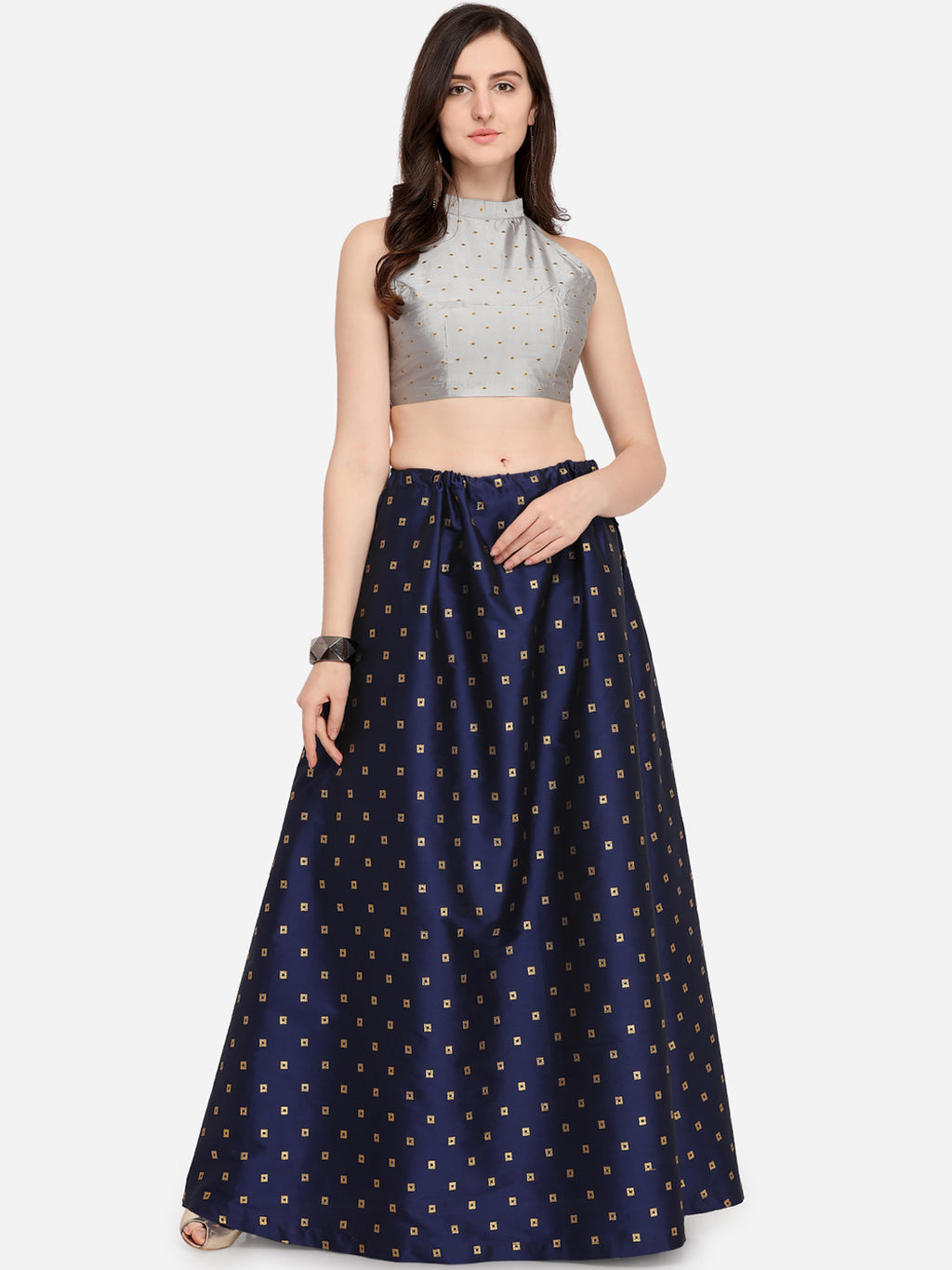 Navy Blue Ready to Wear Lehenga with UnStitched Blouse
