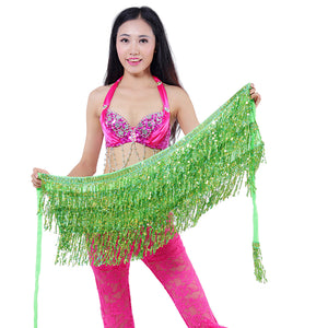 MilkySkinForever Belly Dance Dancer Costume Sequins Tassels Fringes Hip Scarf Belt Waist Skirt