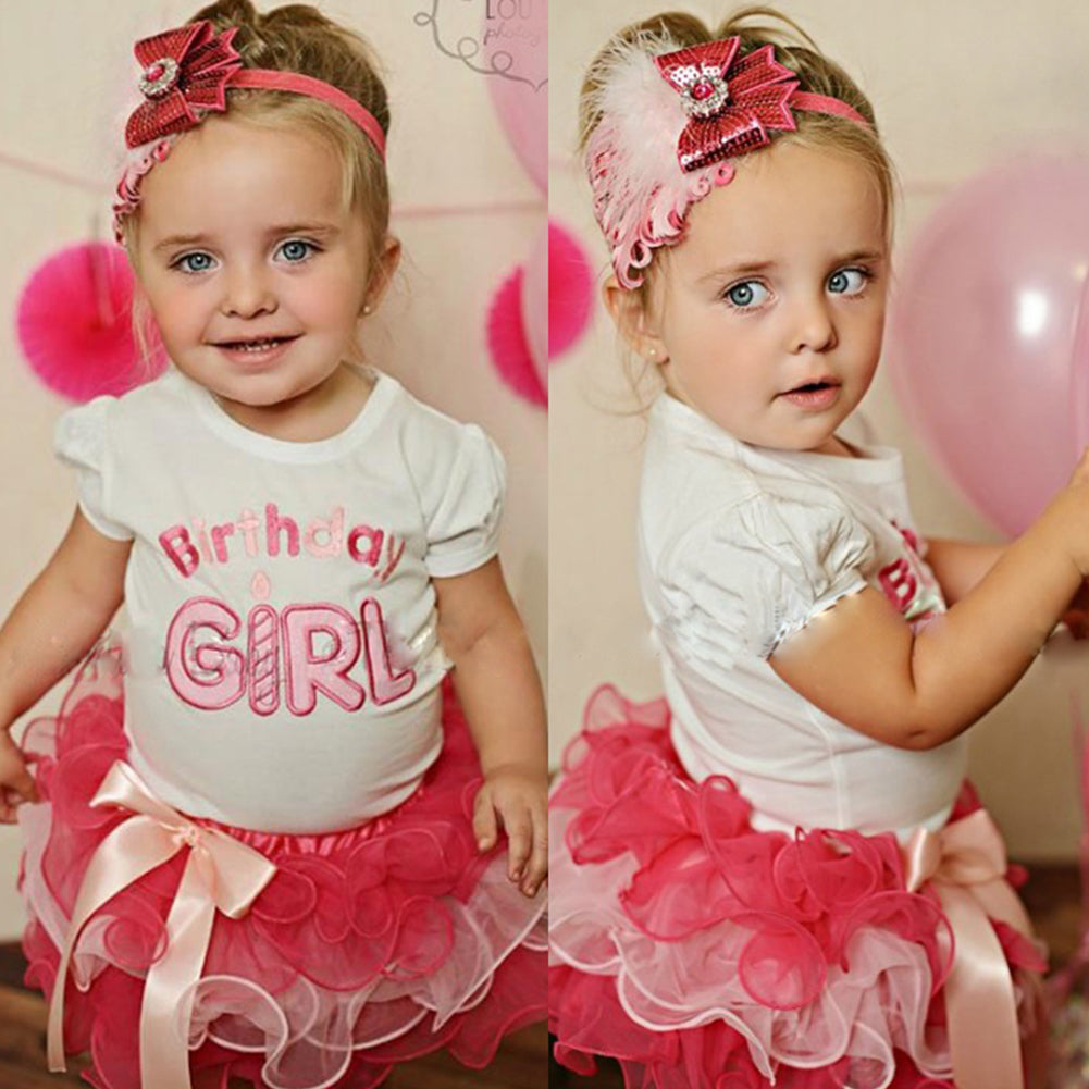 MilkySkinForever Cute Baby Girl Newborn Birthday Letter Print Bowknot Layer Tutu Skirt Outfit Set