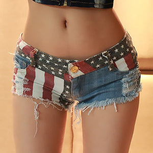 MilkySkinForever Women Summer Sexy Star Stripe American US Flag Print Mini Jeans Denim Shorts