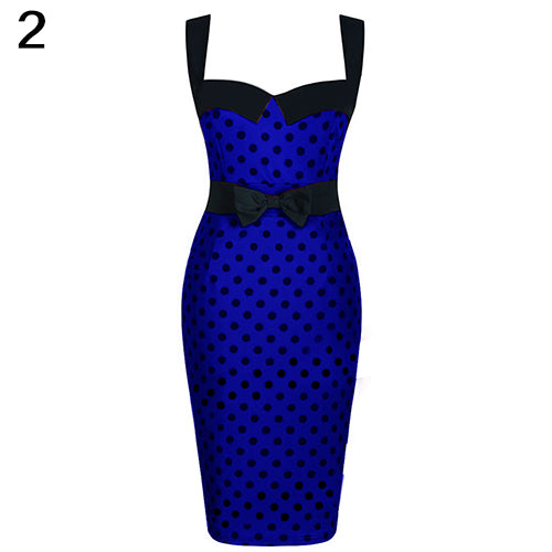 MilkySkinForever Women Summer Vintage Sexy Polka Dots Sleeveless Bodycon Bowknot Pencil Dress
