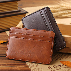 MilkySkinForever Men's Business Faux Leather Money Clip Card Holder Slim Bifold Magic Wallet