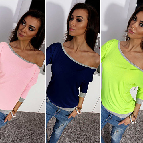 Fashion Sexy Women Oblique Neck Off Shoulder Three Quarter Sleeve Shirt Top