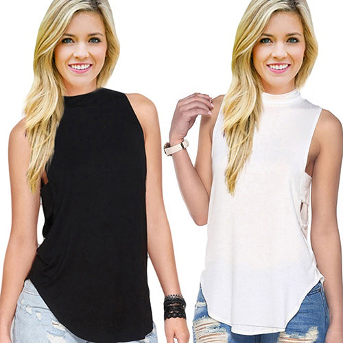 Fashion Women Sexy Summer Casual Sleeveless High Collar Tank Tops Vest T-Shirt