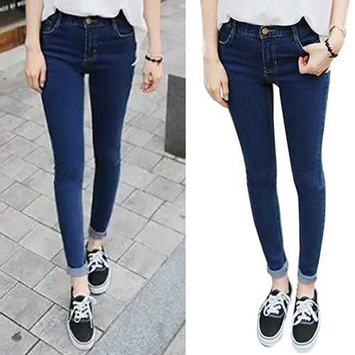 MilkySkinForever Fashion Women Mid Rise Pencil Stretch Denim Skinny Jeans Pants Casual Trousers
