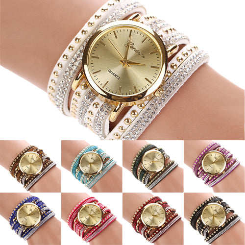 Women Geneva Rivets Multi-Layer Faux Suede Bracelet Analog Quartz Wrist Watch