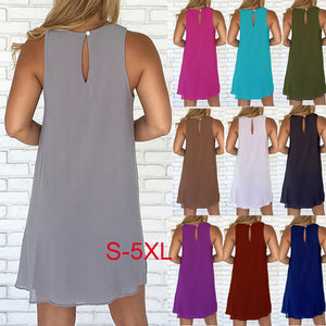 MilkySkinForever Solid Color Sleeveless Women's Summer Casual Loose Chiffon Mini Sexy Dress