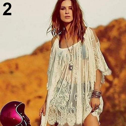 Women's Fashion Hollow Beach Sling Dress Sexy Lace See-through Sundress Top