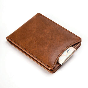 MilkySkinForever Fashion Pigskin Genuine Leather Bifold Wallet Card Photo Holder Men Short Purse