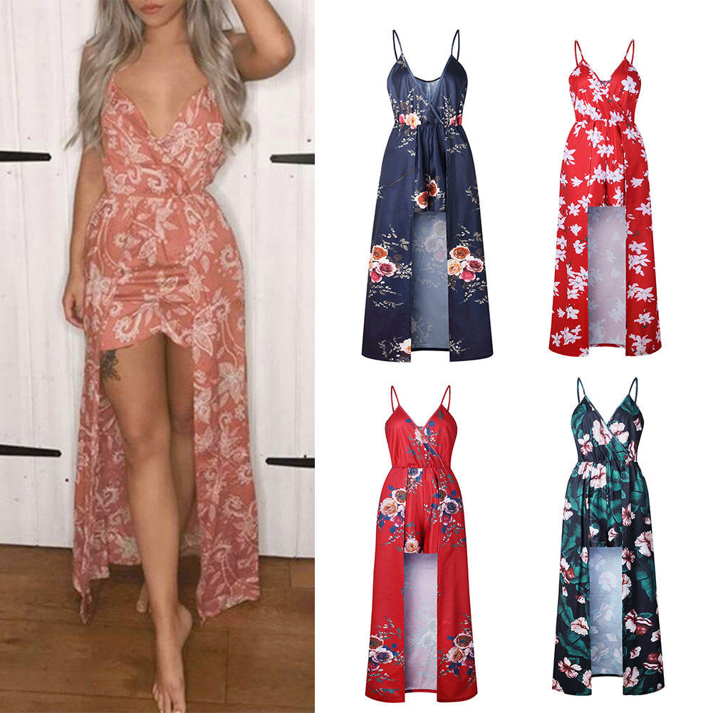 MilkySkinForever Sexy Women V Neck Spaghetti Strap Floral Print Romper Jumpsuit Long Maxi Dress