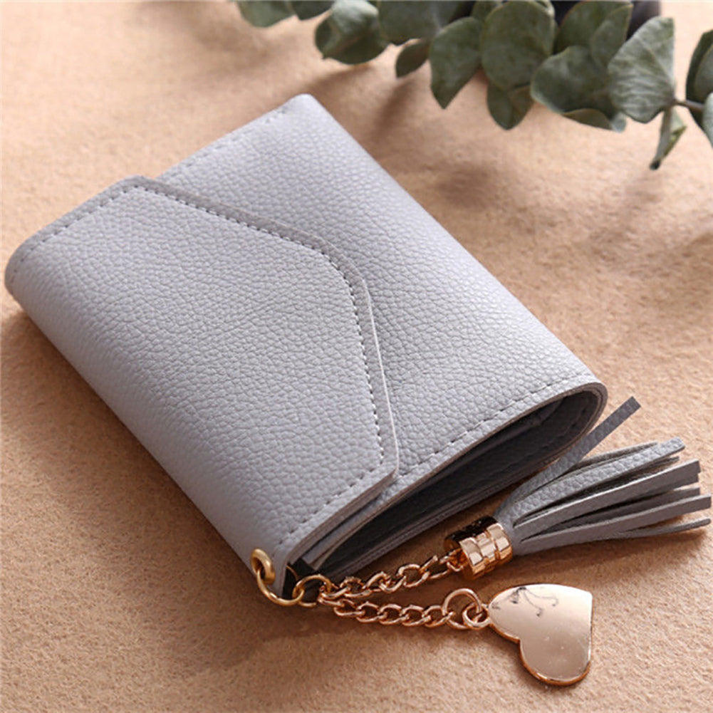 MilkySkinForever Fashion Women Faux Leather Short Wallet Tassel Coin Purse Card Holder Clutch