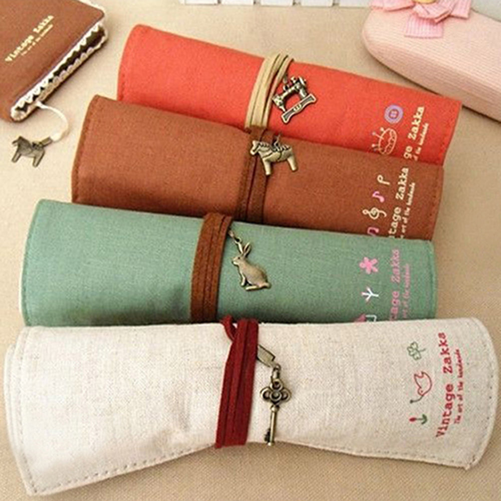 MilkySkinForever Canvas Bag Holder Wrap Roll Up Stationery Pen Brushes Makeup Pencil Case Pouch