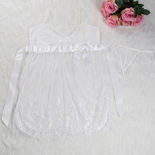 MilkySkinForever Sexy Lace Lingerie Dress  Nightwear Underwear Babydoll Sleepwear G-String