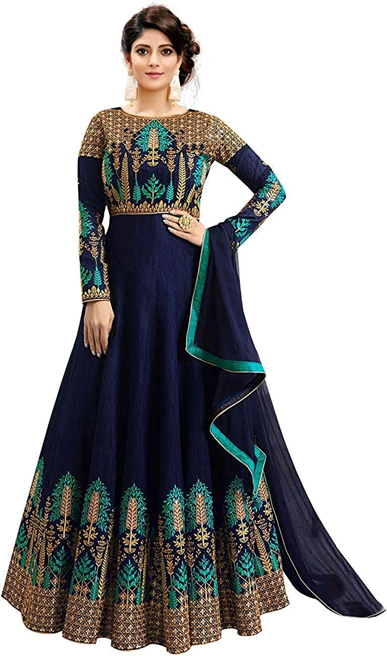 Women's Silk Embroidered Anarkali Long Gown
