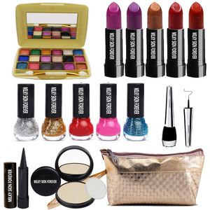 Summer Vacation Combo Offer Makeup Set (18 Color Eyeshadow,Eyeliner, Nail Paint, Kajal, Compact, Lipstick & Silver Makeup Pouch) Set of 15