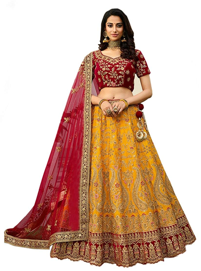 Embroidered semi stitched lehenga for women, womens party wear