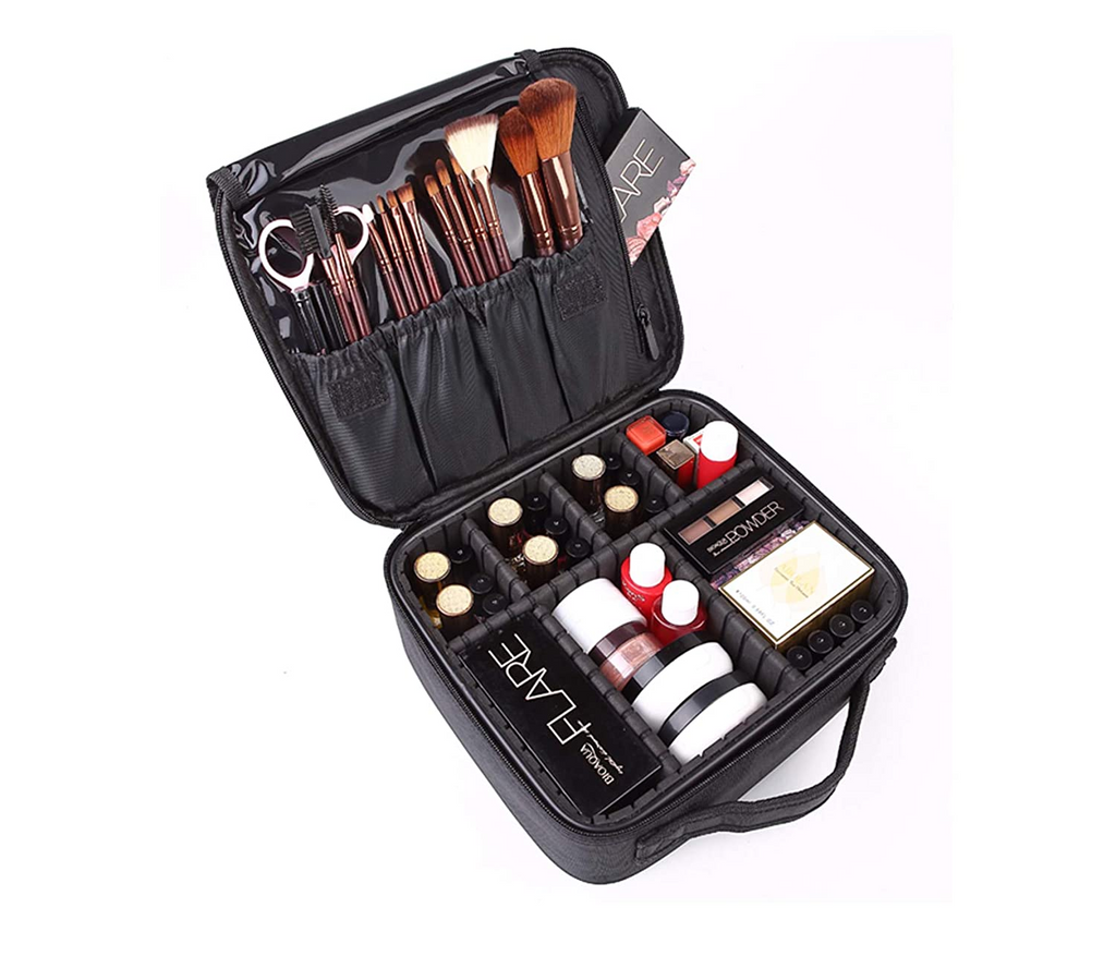 Makeup Cosmetic Storage Case With Adjustable Compartment - Black