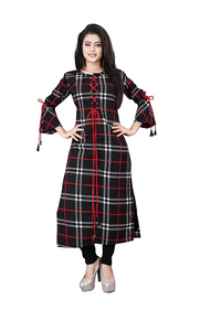 Women's Crepe 3/4 Sleeves Stitched A-Line Kurti