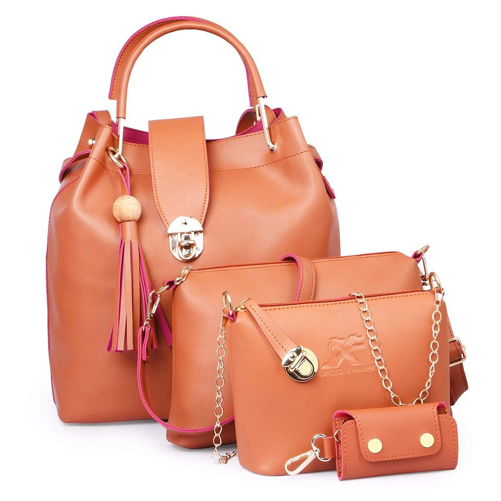 Combo Set Pu Leather Shoulder Bags For Women Tan Colour Set Of 4