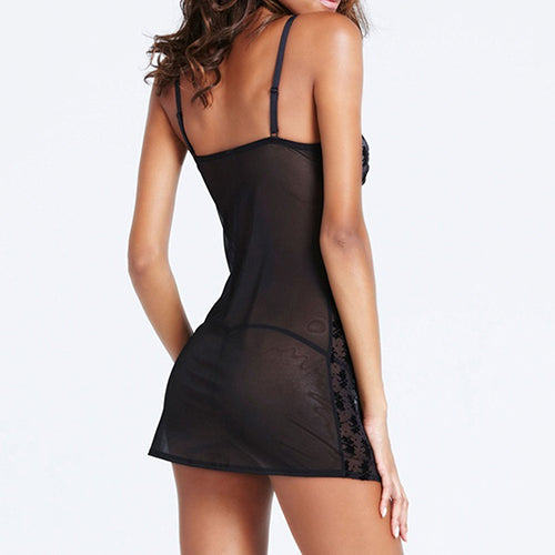 Women's Sexy See Through Lingerie Dress Sleepwear Nightwear + G-String Underwear