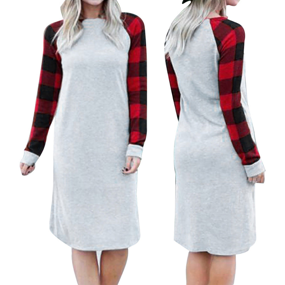 Spring Autumn Leisure Plaid Printed Loose Long Sleeve Dress Women Casual Dress