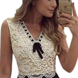 Women's Sexy Summer Lace Patchwork Sleeveless Evening Party Cocktail Mini Dress