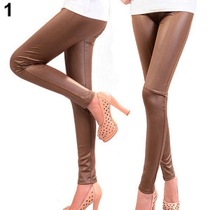 MilkySkinForever Women Stretch Leggings Skinny Pants Slim Fit Tight Trousers Faux Leather Jeggings