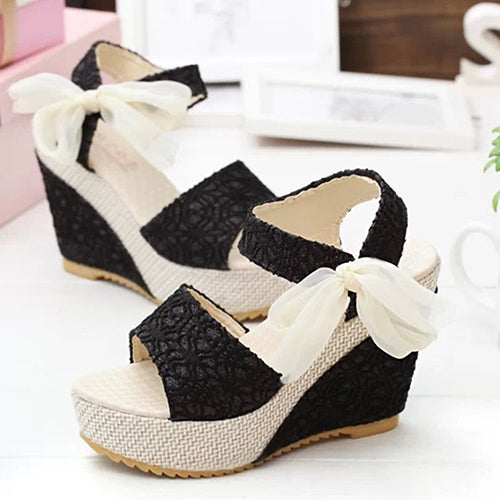 MilkySkinForever Women Summer High Heel Wedge Platform Sandals Bowknot Ankle Lace Strap Shoes