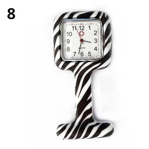MilkySkinForever Women's Silicone Square Nurse Watch Clip-on Brooch Pocket Quartz Movement Watch