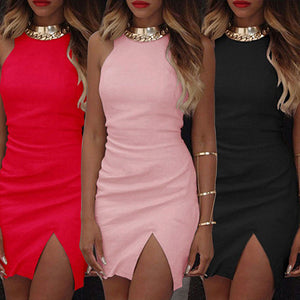 Women Fashion Summer Bodycon Sleeveless Evening Sexy Party Cocktail Mini Dress