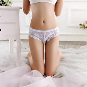 MilkySkinForever Women Fashion Flowers Lace Panties Low Rise Seamless Briefs Sexy Thong Underwear