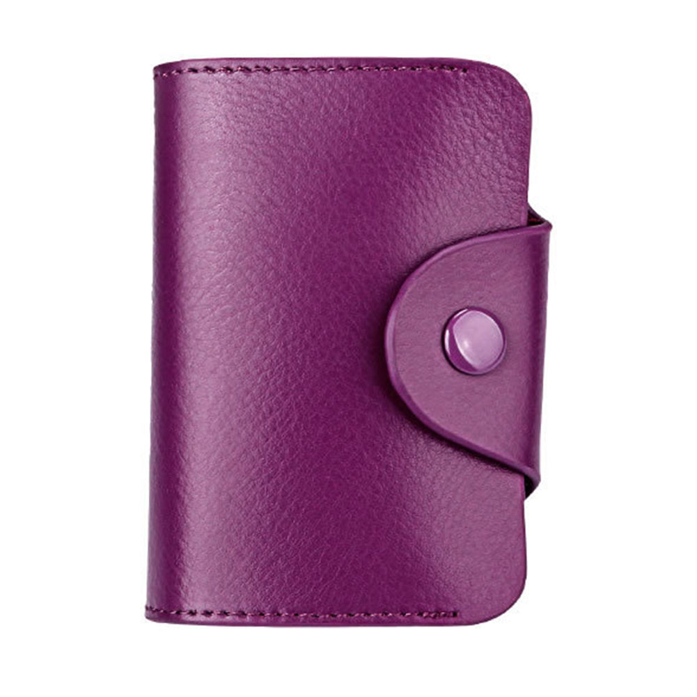 MilkySkinForever Genuine Leather Retro Wallet Blocking Pocket Solid Color Credit Card Holder