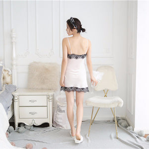 MilkySkinForever Women Sexy Summer Straps Lace Imitated Silk Pajama Dress Home Sleepwear Outfits