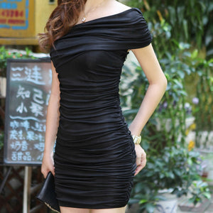 MilkySkinForever Elegant Lady Girl Bodycon Pleated Evening Cocktail Party Sexy Micro Mini Dress