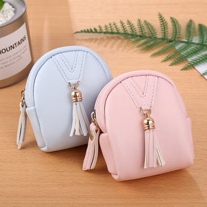 MilkySkinForever Fashion Women Tassels Zip Faux Leather Coin Pouch Mini Key Chain Backpack Bag