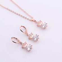 Load image into Gallery viewer, MilkySkinForever Women Crown Shape Inlaid Zircon Pendant Necklace Lever Back Earrings Jewelry Set