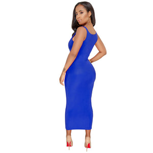 MilkySkinForever Summer U-Neck Sleeveless Women Fashion Slim Bodycon Long Vest Dress Sundress
