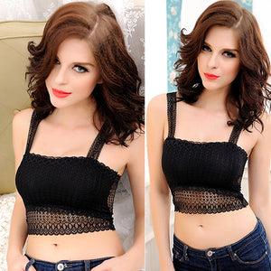MilkySkinForever Women Fashion Lace Butterfly Crop Top Vest Camisole Bra Sexy Stretchy Tank Top