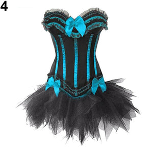 MilkySkinForever Women's Gothic Sexy Overbust Bowknot Lace Corset + Tulle Skirt Bustier Dress